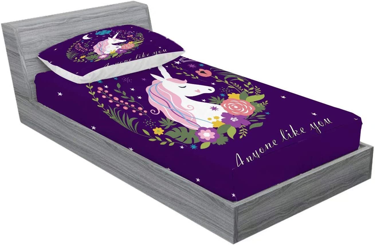 Home of Hailing Unicorn Fitted Sheet Purple Dream Unicorn Bed Sheet for Girls Twin Size Kids Rose Unicorn Flower 1 Fitted Sheet with 1 Pillowcase,Dreamy Cartoon Unicorn Fitted Sheet Set