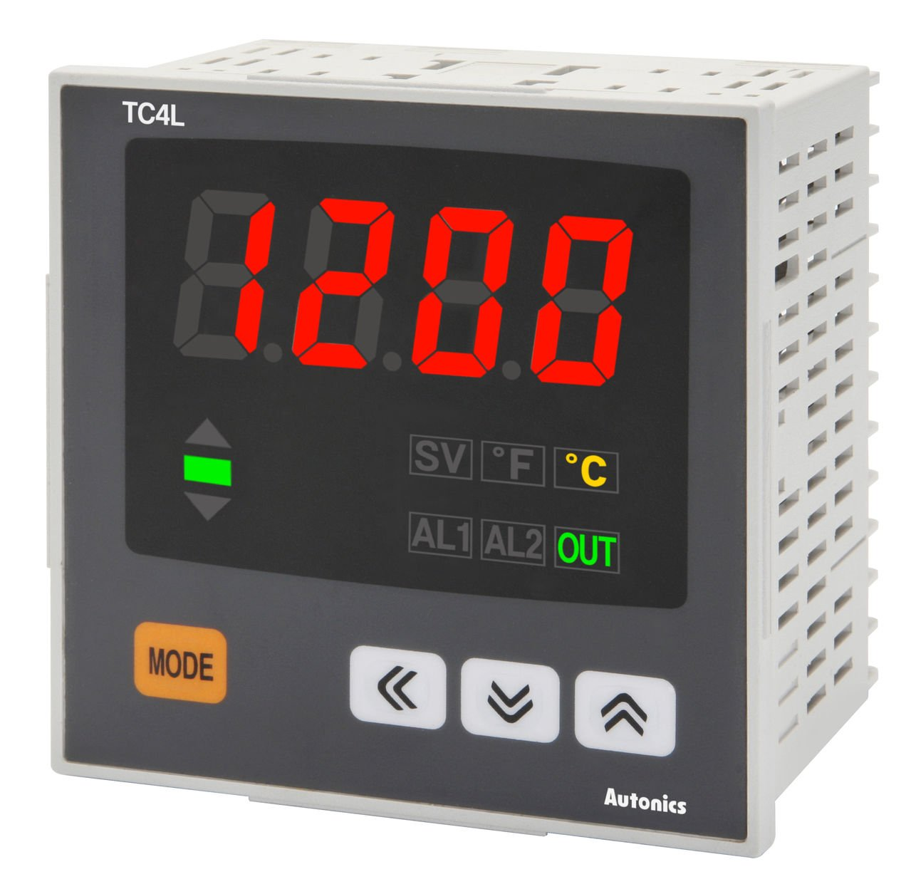 Autonics TC4L-N4N Temp Indicator, DIN W96 X H96mm, Single display 4 Digit, PID Control, without control output, No Alarm Output, 100-240 VAC