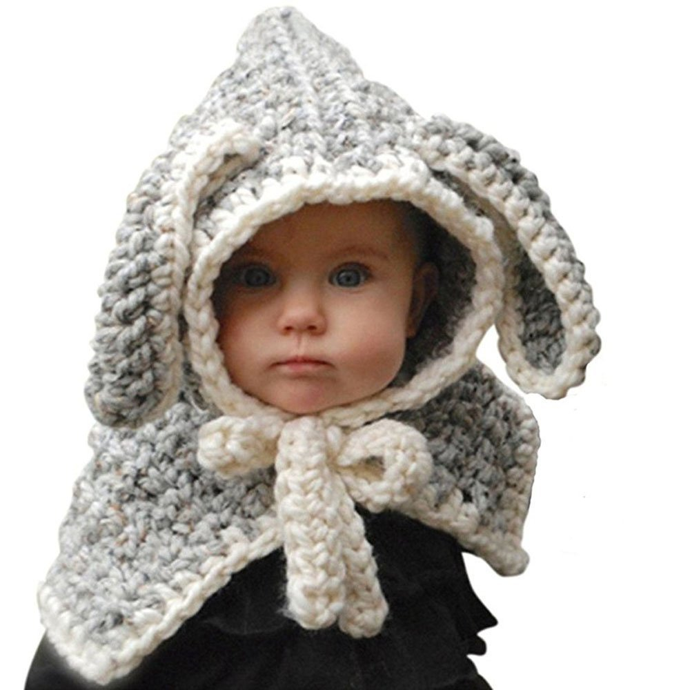fankeshiキッズ暖かい冬ビーニーベビーニットCoifフードスカーフ動物耳帽子キャップ  Grey Rabbit B07953XZY8