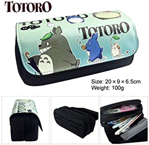 1 Pcs Green Totoro Large Big Capacity Canvas Double Zipper Anime Cartoon Animal Pen Bag Pencil Case Game Cosmetic Makeup Pouch Stationery Office School Supplies Holder Kid Gift Set