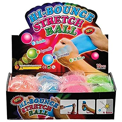 12 Pack Hi-Bounce Pull and Stretch Ball: Toys & Games