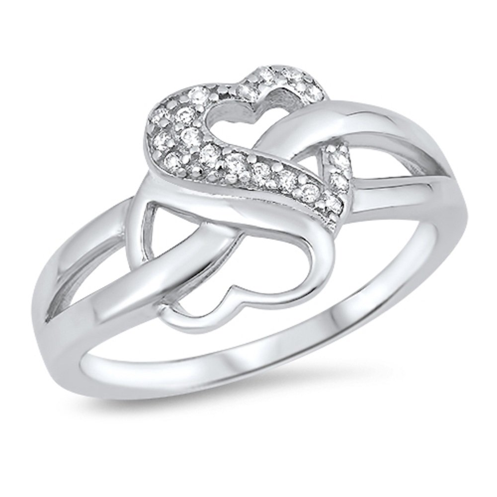 CloseoutWarehouse Clear Cubic Zirconia Iced Double Hearts Ring Sterling Silver