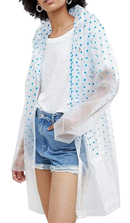 CHOCOLATE PICKLE New Womens Clear Matte Pu Hooded Blue Spot