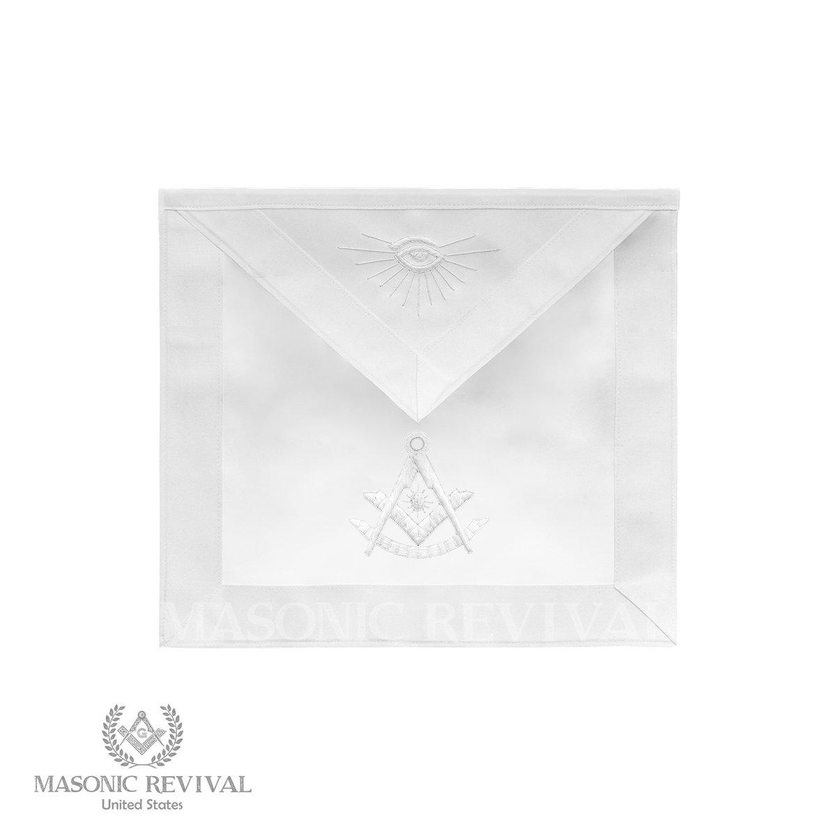 Bianco Past Master White Apron by Masonic Revival (No Fringe) by Masonic Revival