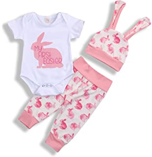 517f7c243 My 1st Easter Newborn Baby Boy Girl Outfits Rabbit Romper Top+Cartoon 3D Bunny  Ears