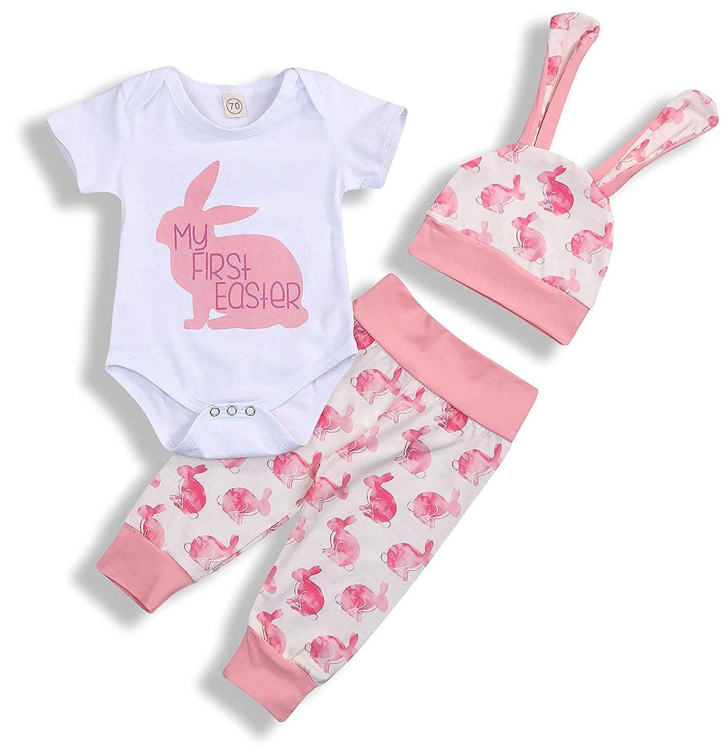 86785e57d3c62 My 1st Easter Newborn Baby Boy Girl Outfits Rabbit Romper Top+Cartoon 3D  Bunny Ears Hat+Cute Pant 3Pcs Twins Clothes Set