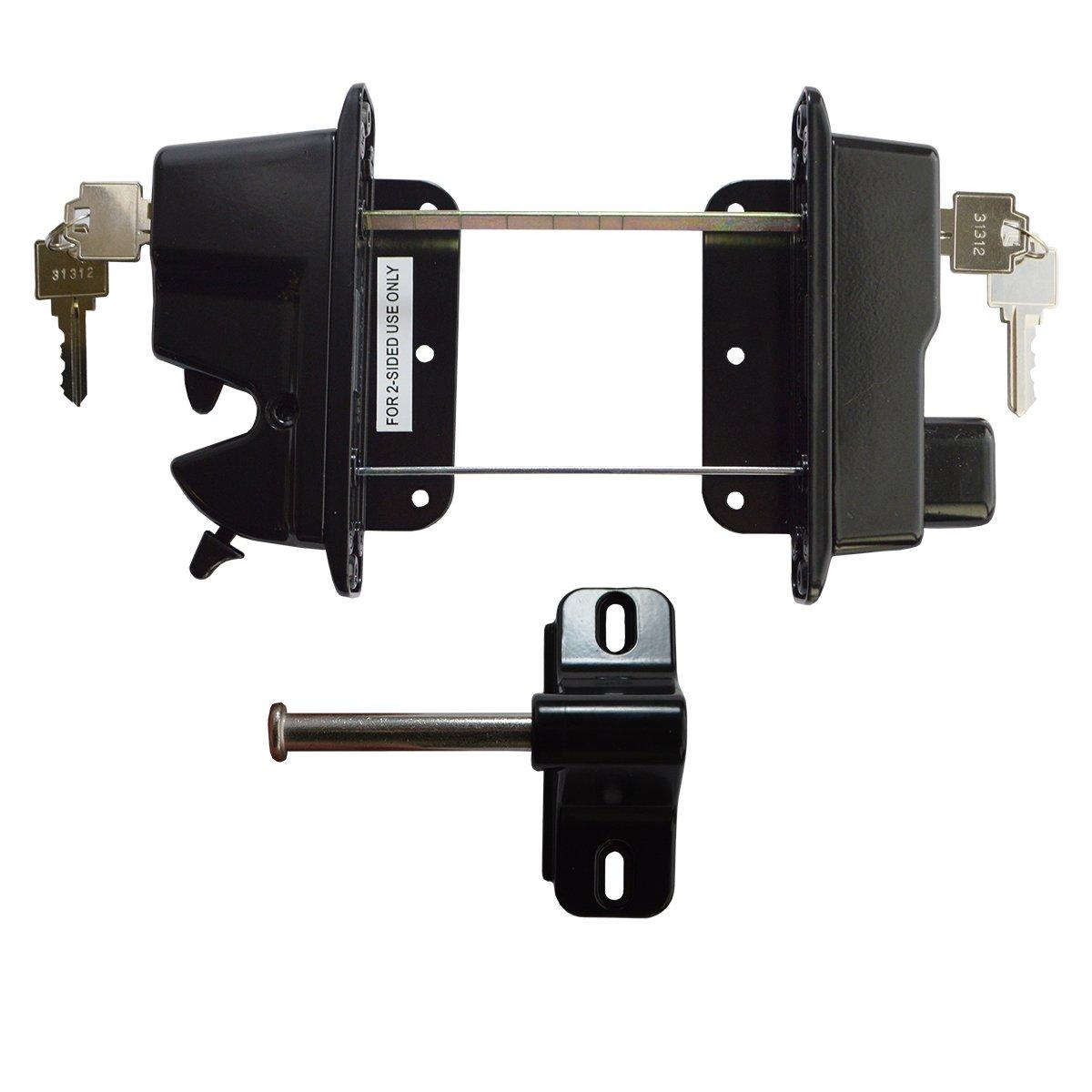 Keystone Black Zinc Diecast Metal Key Lockable Latch   2-Sided   Keyed Alike   KLADV-M2-BK-KA