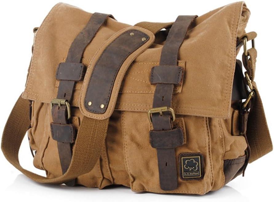 "Jonon Vintage Military Men Canvas Messenger Bag for 13.3-17"" Laptop (Size 13.3"", Brown)"
