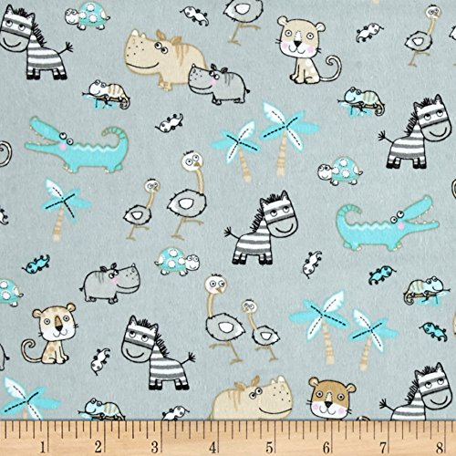 - A.E. Nathan Comfy Flannel Small Safari Animals Grey Fabric by the Yard