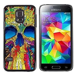 Paccase / Dura PC Caso Funda Carcasa de Protección para - Skull Neon Monster Positive Art Skeleton - Samsung Galaxy S5 Mini, SM-G800, NOT S5 REGULAR!