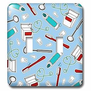 3dRose lsp_165818_2 Cute Dentist Dental Hygienist Print Blue Light Switch Cover 8