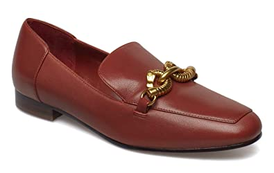f6d29c5c0e0 Tory Burch Women s Dark Sienna Leather Jessa Loafer Gold Buckle (6 M ...