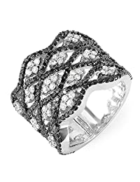 2.25 Carat (ctw) 14k White Gold Black & White Round Diamond Ladies Cocktail Right Hand Ring