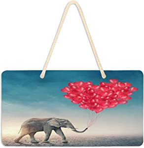 ALAZA Red Balloon Elephant Animal Hanging Door Sign Plaque Wall Hanging Sign Home Decor Front Farmhouse Porch Garden Yard 6 x 11 inches