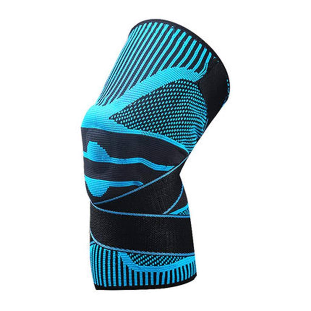 HQCC Sports Basketball Men's Professional Protective Gear Ladies Outdoor Running Fitness Knee Pads 3 Styles can Choose (Color : Light Blue, Size : M)