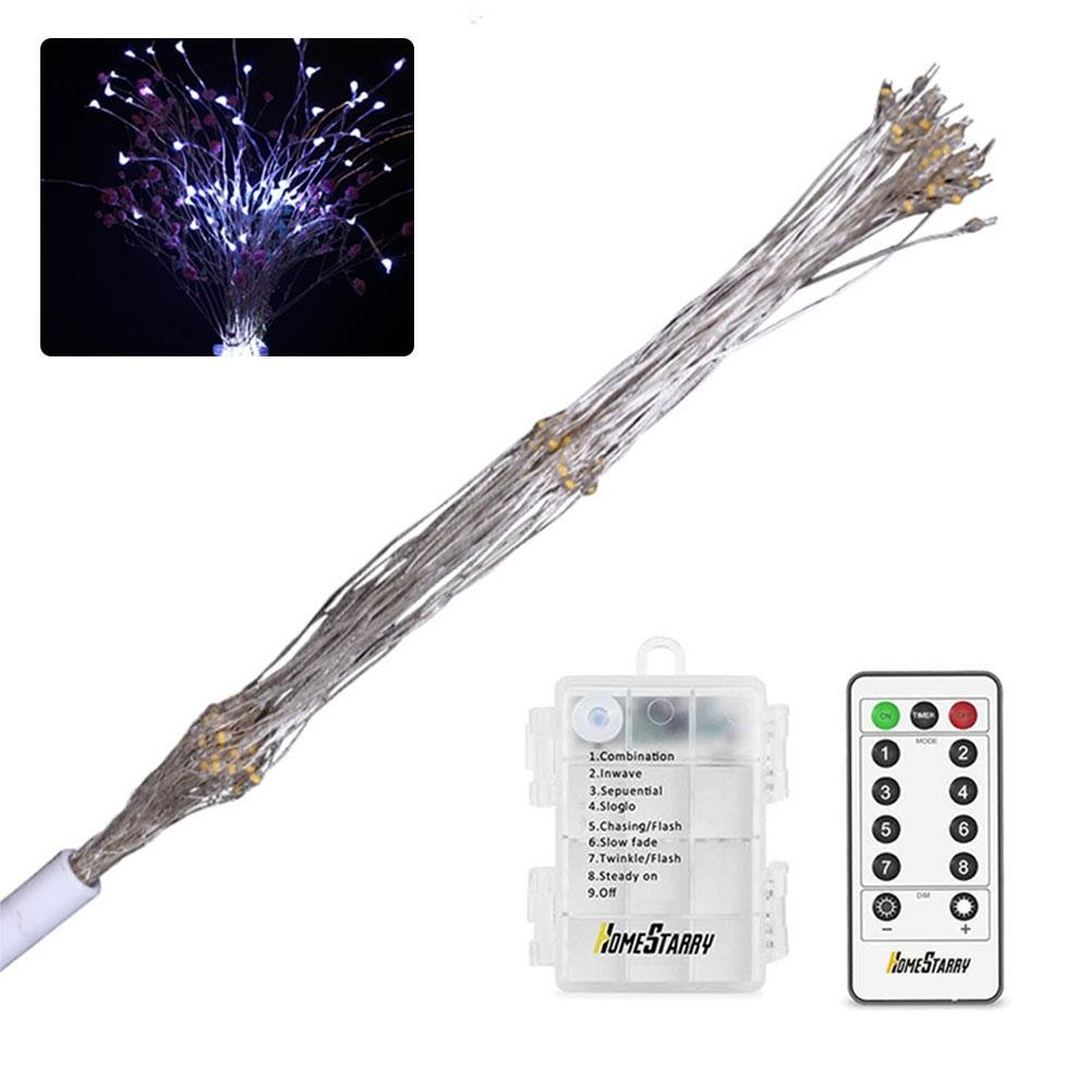 Teepao LED Starburst Fairy String Lights with Remote, 8 Modes 120 LED Firework Bouquet Shape Battery Operated Decorative Twinkle Lights for Bedroom,Patio, Garden, Wedding, Party, Banquet (White)
