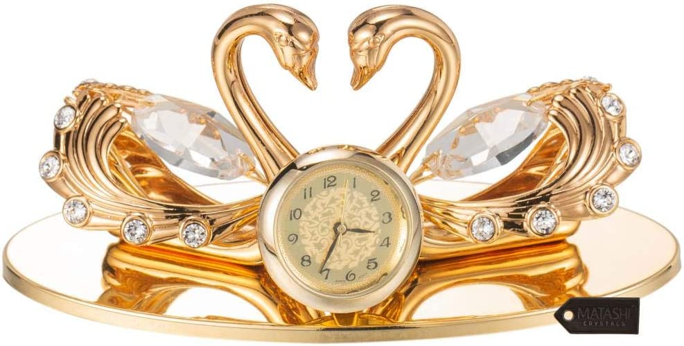 Matashi 24K Gold Plated Loving Swans Figurine Clock Table Top Ornament for Home Office Desk Bedroom Decor Gift for Valentine's Day Birthday Mother's Day Anniversary Christmas Housewarming Present