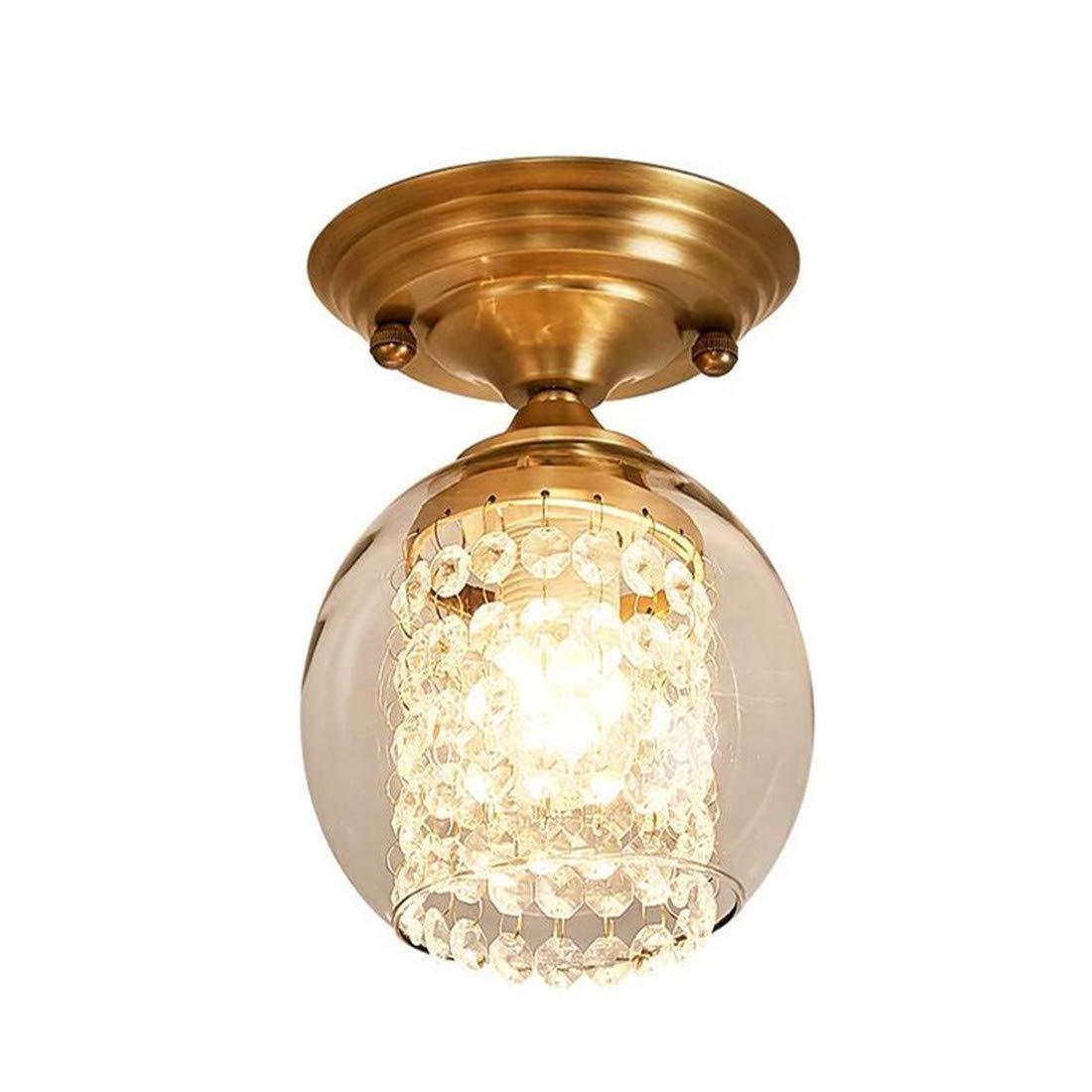 Kristall hängende Perlen Lampenschirm Gold E27 Einzigen Kopf Deckenleuchte Amerikanische Einfache Kreative Europäischen Stil Deckenleuchte Kronleuchter Gang Flur