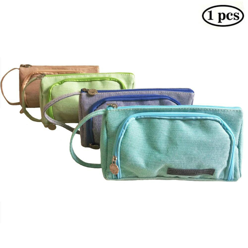 ERANLEE Big Capacity Pencil Pags Pen Case Student Office College Middle School High School Large Storage Bag Pouch Holder Box Organizer Navy