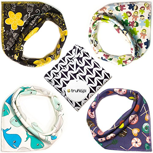 Baby Bibs by Truhapi, Baby Organic Bandana Drool Bibs Set of 4 for Boys and Girls, 100% Cotton, Soft, Absorbent, Hypoallergenic, Unisex for Drooling and Teething Bibs - Bonus Pocket Wet Bag