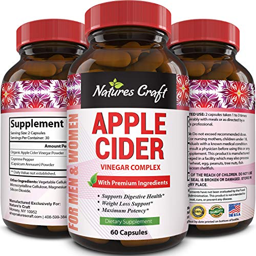 Natures Craft Apple Cider Vinegar Pills - For Weight Loss ACV Capsules Extra Strength Fat Burner Natural Supplement Pure Detox Cleanse Appetite Suppressant Immune Booster - for Women and Men 60 caps