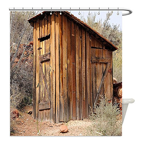 Liguo88 Custom Waterproof Bathroom Shower Curtain Polyester Outhouse Old Ancient Outhouse Wooden Seem Plaques in Olive Trees Light Caramel Brown and Dark Green Decorative bathroom (Dark Bronze Golden Retriever)