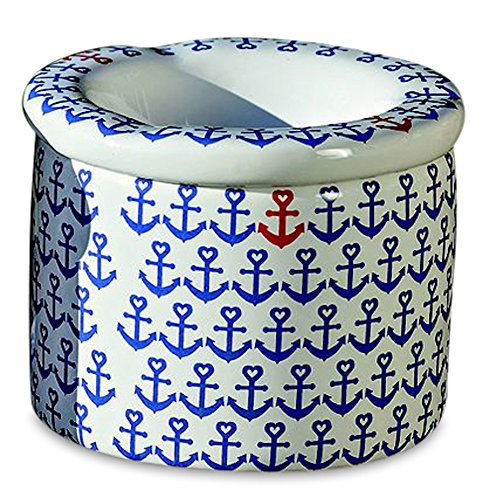 (WHW Whole House Worlds Ahoy Mate Outdoor Smokeless Ashtray, Nautical, Lift Off Lid, 2 Pieces, White with Navy Blue Heart Topped Anchors, Glazed Ceramic, 3 1/2 in Diameter x 2 3/4 Inches Tall)