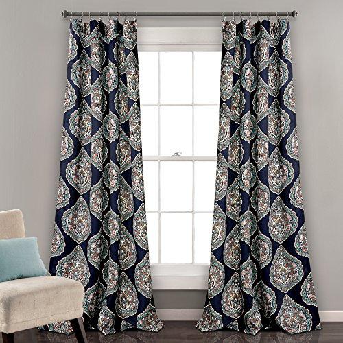 Lush Decor Harley Curtains | Paisley Print Bohemian Style Room Darkening Window Panel Drapes Set for Living, Dining, Bedroom (Pair), 84