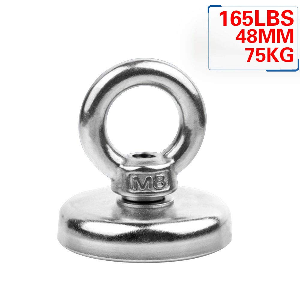 Strong Magnet, 165 LB Super Powerful Pulling Force Round Neodymium Magnet with Countersunk Hole and Eyebolt, Diameter 1.89INCH(48MM) for Multi-Purpose (Njd48) (1PC) YSYBL