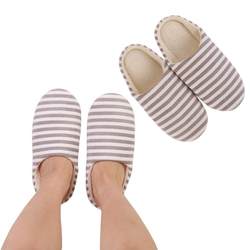 Bateer Bedroom Slippers Indoor Slippers Cozy Anti-Slip Sole Washable Womens Mens Stripe Decor Closed Toe House Slippers All Seasons Suitable