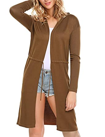 2bfbe3032 Women Casual V Neck Hooded Long Sleeve Solid Open Front Waist ...