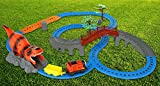 Advanced Play Motorized Kids Classic railway toy Train track play set with upper and lower level bridge dinosaur cartoon tunnel sound effects and flashing light for kids toddlers boy and girls