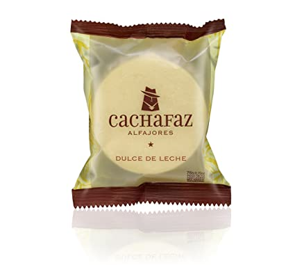Cachafaz Alfajor Maizena - Cornstarch Sandwich Cookie filled with dulce de leche decorated with shredded coconut. 6 Units: 76 G: Amazon.com: Grocery ...
