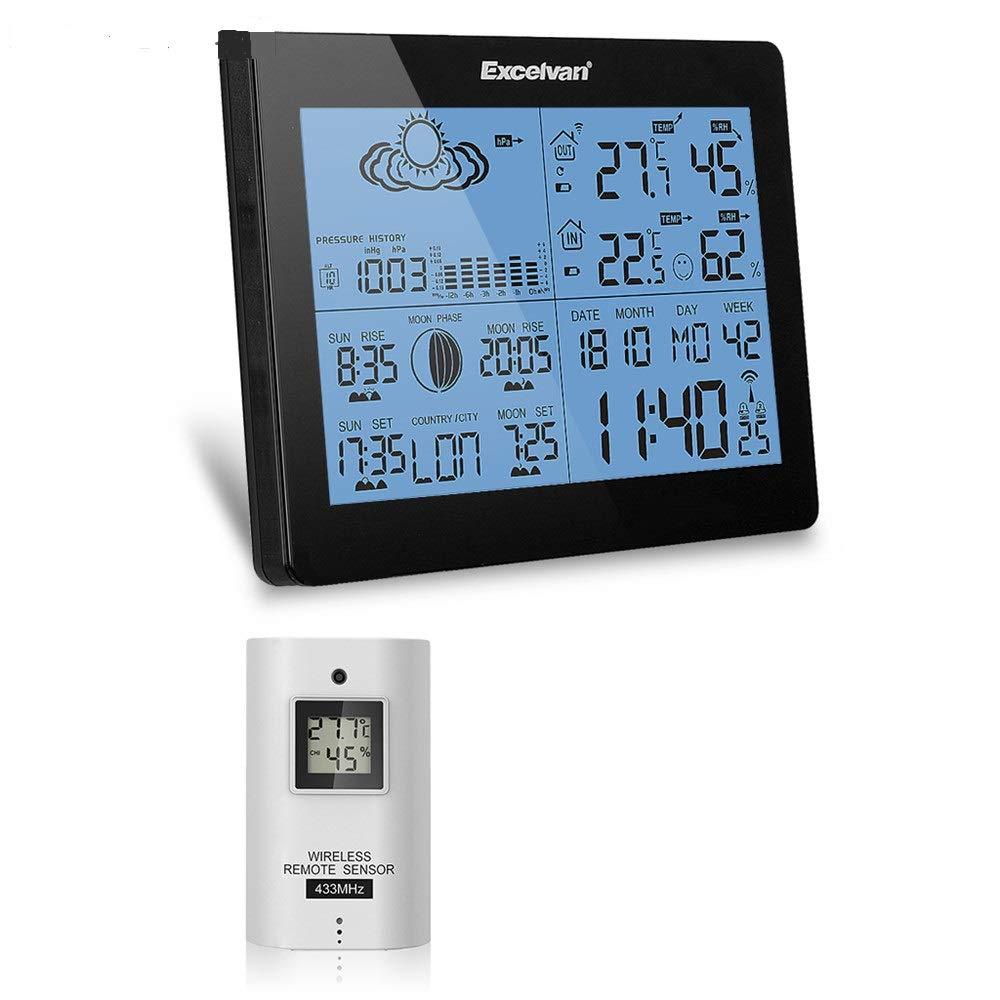 Excelvan Wireless Thermometer Hygrometer Weather Station Forecast Moonphase Temperature Humidity Tester Clock Alarm Indoor Outdoor Sensor Ice Alert Black Lixnae Electronics