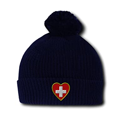 Heart Swiss Flag Embroidery Embroidered Pom Pom Beanie Skully Hat Cap Navy 92c790e7983