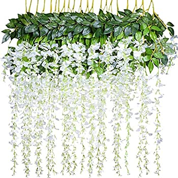 Amazon 36 feet artificial flower silk wisteria vine ratta fake e hand 12 piece artificial flower wisteria garland fake vine hanging plant silk string ratta mightylinksfo