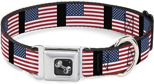 Buckle Down Hebilla de cinturón de Seguridad Collar de Perro – Vintage Bandera de Estados Unidos Stretch, United States Flags, 1
