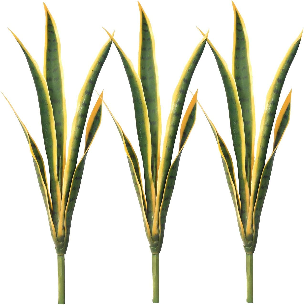 "3 Pcs Artificial Plants 27"" Sansevieria Snake Plant Plastic Greenery Perfect Faux Agave Plant for Home Office Indoor and Outdoo Décor (Yellow, 3 Pack)"