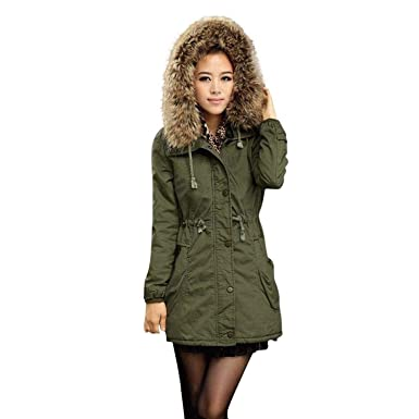 c95b64dc38dfa Keepwin Womens Fashion Parka Jacket Hooded Winter Outdoor Coats with Faux  Fur Trim Hood  Amazon.co.uk  Clothing