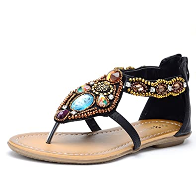 6392c91b49c6 Odema Women Summer Bohemian Rhinestone Flat Beach Thong Sandals Black