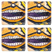 MSD Square Coasters IMAGE 29356899 Close up of smile on oil paintng