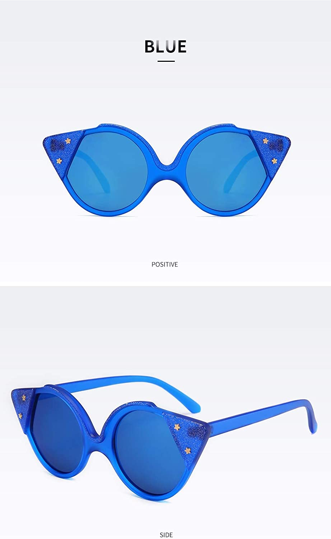 Sunglasses Cat Eye Sunglasses Women Cat Ear Female Stars Gun Glasses for Ladies Eyewear blue