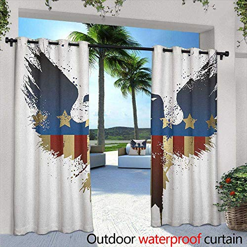 LOVEEO Eagle Grommet Outdoor Curtains The American Flag on Silhouette of National Bird of The Country Majestic Animal Waterproof Patio Door Panel 72