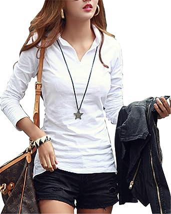 Camisas Mujer Casual, Camiseta de Cuello Alto de Solapa Casual para Mujer Camisetas de Manga Larga de Blusa: Amazon.es: Ropa y accesorios