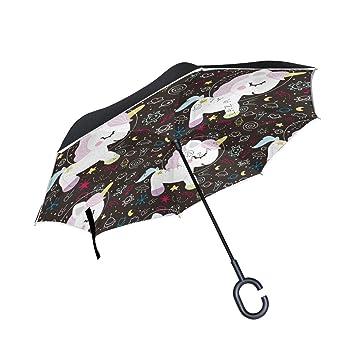 MAILIM - Paraguas invertido de Unicornios con Doble Capa Resistente al Viento, Mango C,