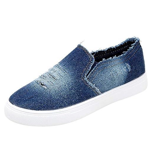 LILICAT❋ Zapatillas de Deporte de Mezclilla Redondas y de Fondo Plano para Mujer 35-43 Moda Mujer Estudiantes Zapatos de Mezclilla de Color Liso Suelas ...