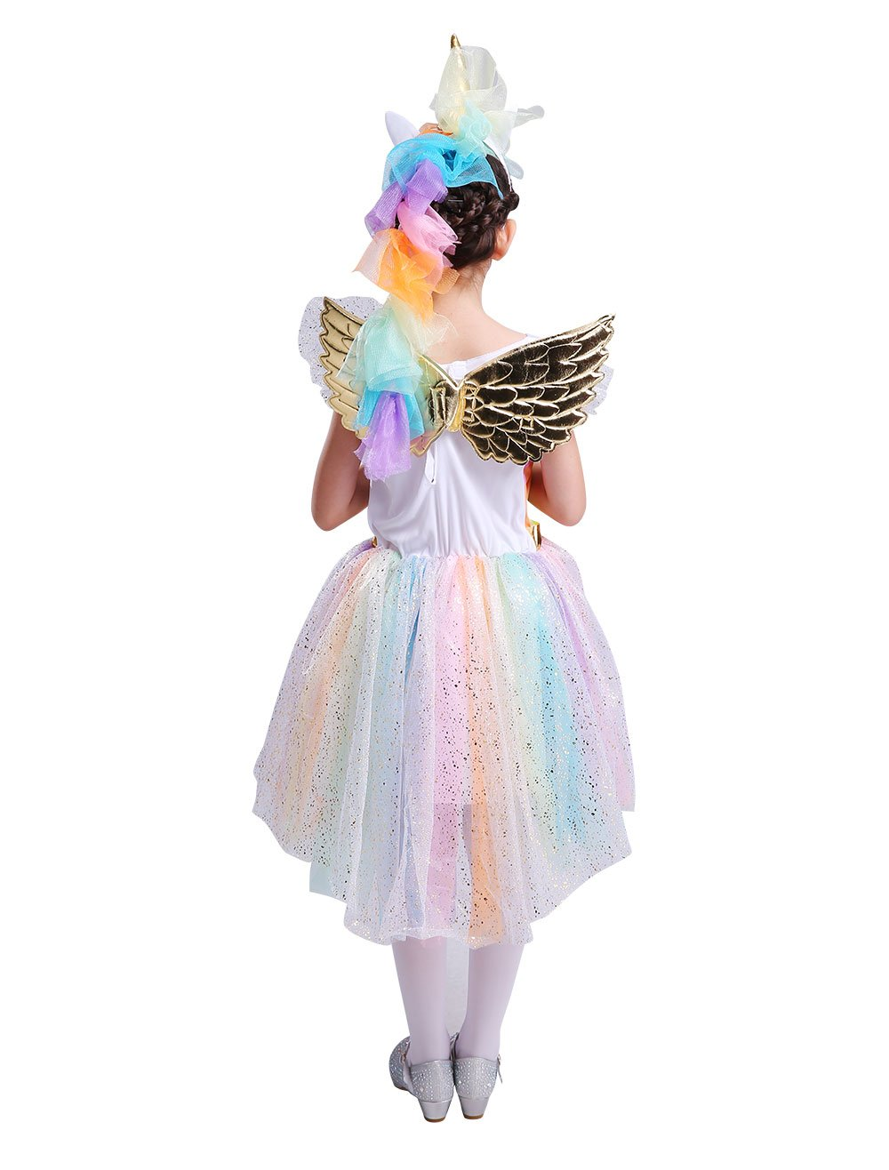 Seasons Direct Halloween Girl's Rainbow Unicorn Costume with Wing and Headband 5
