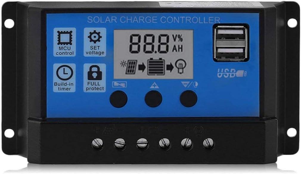 Sunnyflowk Professional Dual USB 12V / 24V 10A Controlador de Panel Solar Regulador de Carga de batería Regulador de Pantalla LCD Controlador Solar (Negro y Azul)