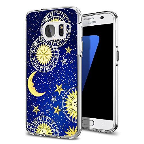 (S7 Case Moon,Ecute Soft Slim Flexible Clear Rubber Side + Style Hard Back Case for Samsung Galaxy S7 - Sun Moon Star Galaxy Design)