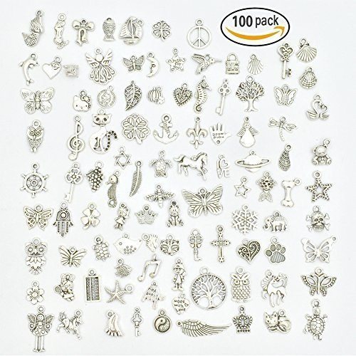 Wholesale Bulk Lots Jewelry Making Silver Charms Mixed Smooth Tibetan Silver Metal Charms Pendants DIY for Necklace Bracelet Jewelry Making and Crafting, JIALEEY 100 -